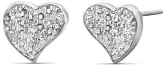 Jewelersclub JewelersClub White Diamond Accent Sterling Silver Heart Shape Stud Earrings