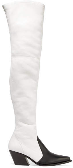 Givenchy Two-tone Leather Over-the-knee Boots - White