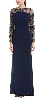 Carmen Marc Valvo Women's Novelty Illusion Ls and Low Back Crepe Gown