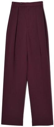 Deveaux Double Pleated Pants in Burgundy Bonded Wool