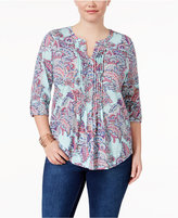 Charter Club Plus Size Cotton Pintucked Printed Top, Only at Macy's