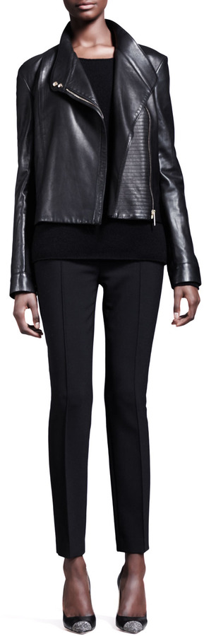 The Row Knit-Panel Leather Moto Jacket