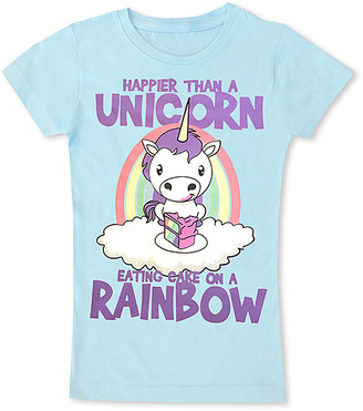 Micro Me Girls' Tee Shirts Ice - Ice Blue 'Eating Cake on a Rainbow' Fitted Tee - Toddler & Girls
