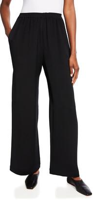 eskandar Flared Silk Trousers, Black
