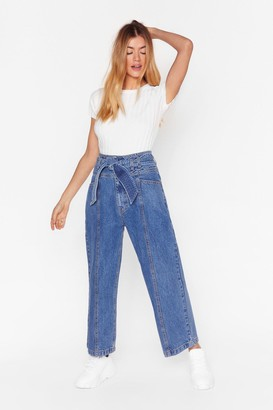 Nasty Gal Womens Tie Me Cropped Wide-Leg Jeans - Blue - 4