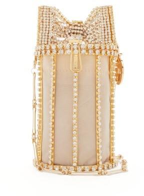 Rosantica Hippy Amelia Bow Crystal-embellished Shoulder Bag - Gold Multi