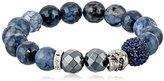Swarovski Very Me ''NEW YORK'' Sapphire Crystal Faceted Blue Fire Agate Hematite-Color Bracelet, 10mm