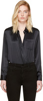 Alexander Wang Black Silk Wrap Shirt Bodysuit
