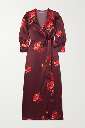 Reformation Merrick Floral-print Silk-satin Wrap Dress - Red