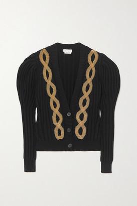 Alexander McQueen Embellished Ribbed Wool-blend Cardigan - Black