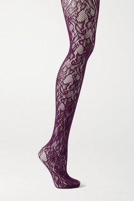 Dries Van Noten Floral Stretch-lace Tights - Purple