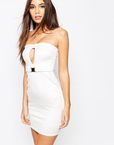 Oh My Love Bandeau Buckle Bodycon Dress With Cut Out