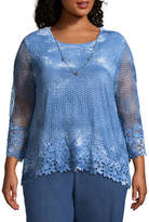 Alfred Dunner Sun City Tie Dye Floral Tee- Plus