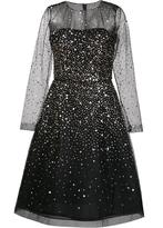 Oscar de la Renta gold-tone sequined flared dress