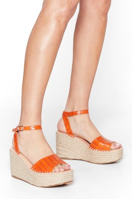 Nasty Gal Womens Croc With You Woven Wedge Sandals - Orange