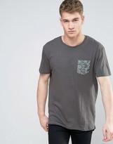 Brave Soul Curved Longline Camo Pocket T-Shirt