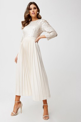 Little Mistress Leila Cream And Gold Sequin Pleated Midaxi Dress