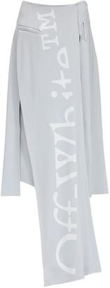 Off-White Crepe Midi Skirt W/ Front Panel