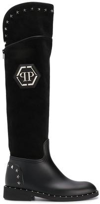 Philipp Plein High star studded boots