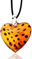Murano Pugster Glass Light Yellow Spotted Heart Pendant Necklaces