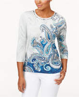 Alfred Dunner Petite Paisley Shimmer Embellished Sweater
