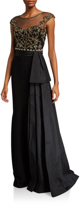 Couture Theia Cap-Sleeve Bead Embellished Bodice Gown w/ Taffeta Bow