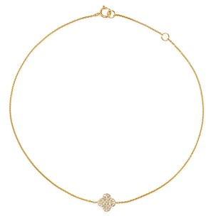 Bloomingdale's Kc Designs 14K Yellow Gold Diamond Clover Ankle Bracelet