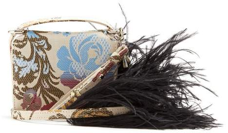 Marques Almeida Marques'almeida - Feather Strap Floral Jacquard Cross Body Bag - Womens - White Multi