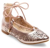 Stevie Girls' Stevie's #LIVVY Lace-Up Ballet Flats - Rosegold