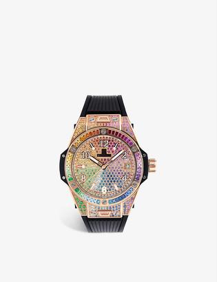 Hublot 465.OX.9910.LR.0999 Big Bang One Click Rainbow 18ct king-gold, gemstone and satin watch
