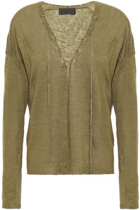 Nili Lotan Lace-up Linen Sweater