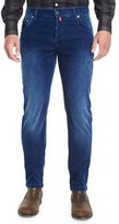 Kiton Medium Wash Denim Corduroy Jeans, Blue