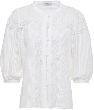 Sandro Roza Guipure Lace-trimmed Striped Cotton-gauze Blouse
