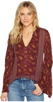 Lucky Brand Mix Print Peasant Top Women's Clothing