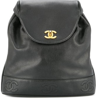 Chanel Pre Owned turn-lock CC stitch rucksack