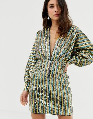Asos Design DESIGN stripe embellished sequin batwing kimono mini dress-Multi