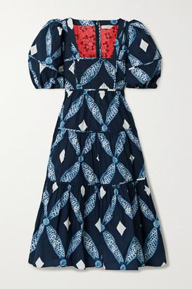 Ulla Johnson Nora Tiered Printed Cotton-poplin Midi Dress - Blue