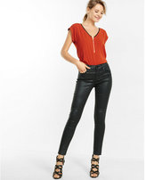 Express piped lace shoulder zip front tee