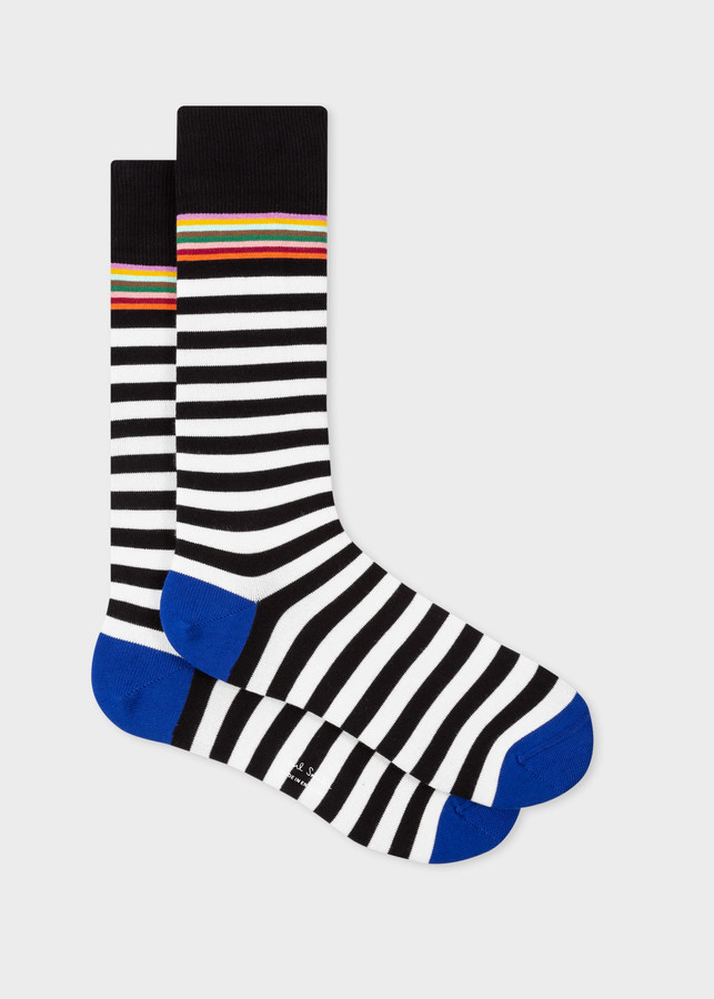 Paul Smith Men's Black And White Stripe Socks With Blue Trims