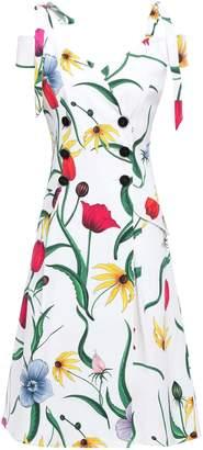Carolina Herrera Cold-shoulder Floral-print Cotton-blend Faille Midi Dress