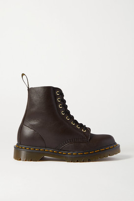 Dr. Martens 1460 Pascal Shearling-lined Textured-leather Ankle Boots - Dark brown
