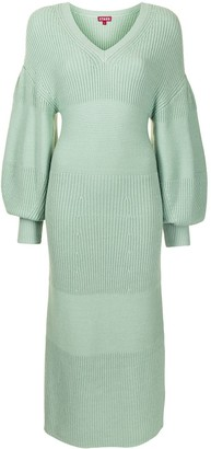 STAUD Chunky-Knit Puff-Sleeve Dress