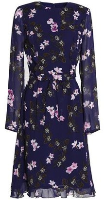 Mikael Aghal Ruffle-trimmed Floral-print Chiffon Dress