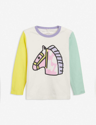 Stella McCartney Colour-blocked horse-print cotton T-shirt 3-36 months
