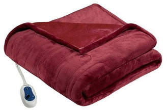 Madison Home USA Signature Knitted Solid Microlight Heated Throw, Red