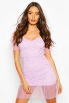 boohoo Lace Polka Dot Mesh Frill Hem Mini Dress