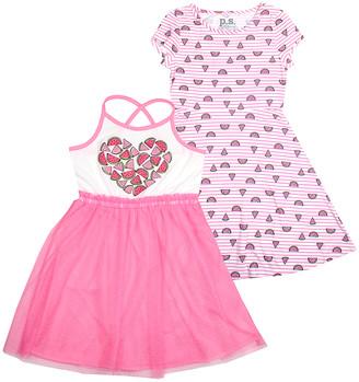 Aeropostale p.s. from Girls' Casual Dresses PINK - Pink Heart Sleeveless Dress & Watermelon Cap-Sleeve Dress - Girls