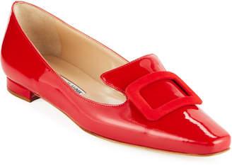 Manolo Blahnik Patent Buckle Loafer Flats