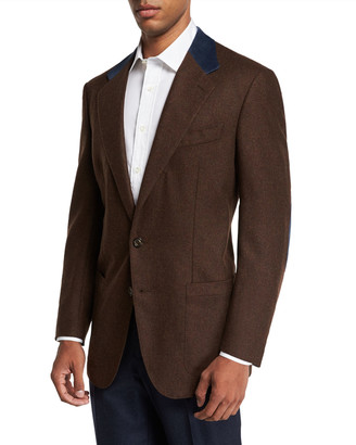 Stefano Ricci Men's Wool and Cashmere Sport Jacket with Suede Collar Details