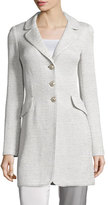 St. John Allure Shimmery Knit Three-Button Jacket, Platinum